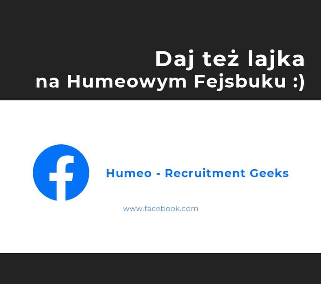Grafika prezentująca logo portalu Facebook i firmy Humeo, kierująca do profilu agencji rekrutacyjnej Humeo na platformie Facebook
