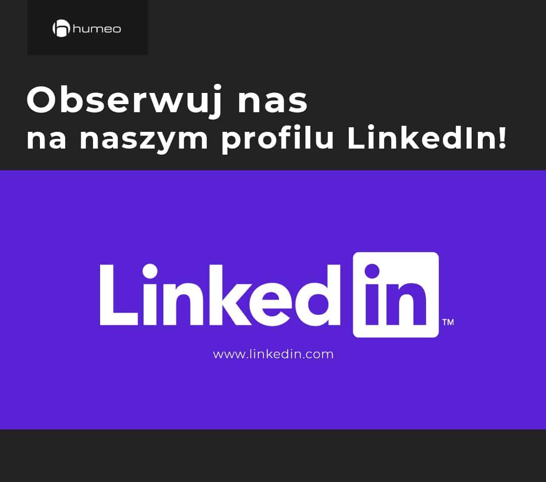 Grafika prezentująca logo portalu LinkedIn i firmy Humeo, kierująca do profilu agencji rekrutacyjnej Humeo na platformie LinkedIn